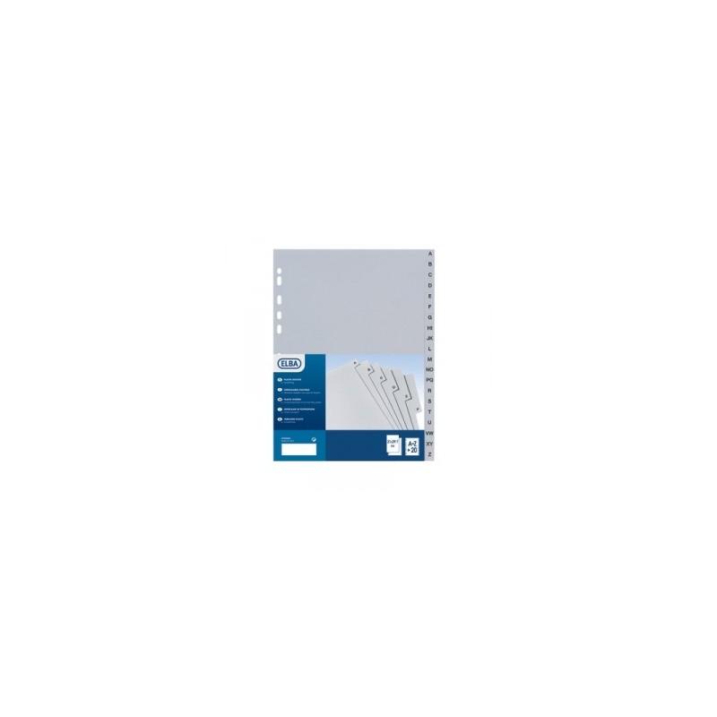 INTERCALARI A5 PLASTICA  A-Z rubricato art.105 GRIGIO