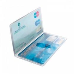 PORTA CARD 2 ante   8,5x5,4 trasp conf.50pz  -7838-