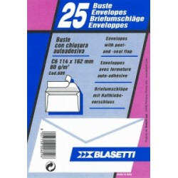 BUSTA COMMERCIALE 114x162 -C6- ADESIVA 80gr  blister25pz - conf.20blister (609)