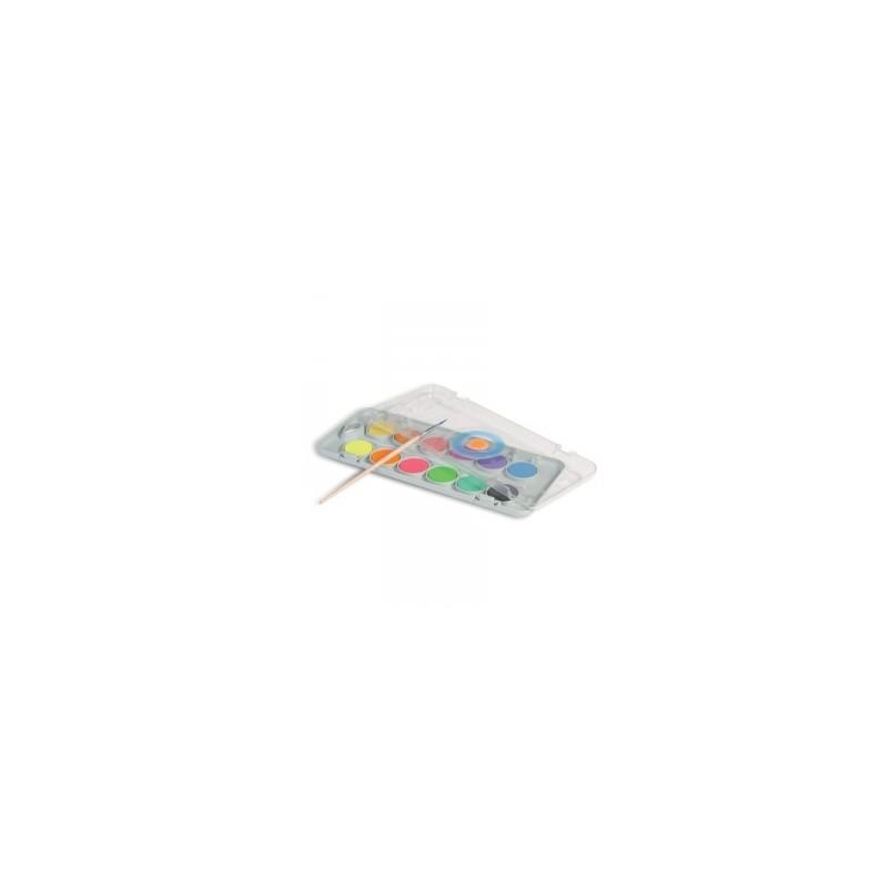 COLORI ACQUERELLO A PASTIGLIA -CMP Morocolor- da 12colori  FLUO E METALLIC