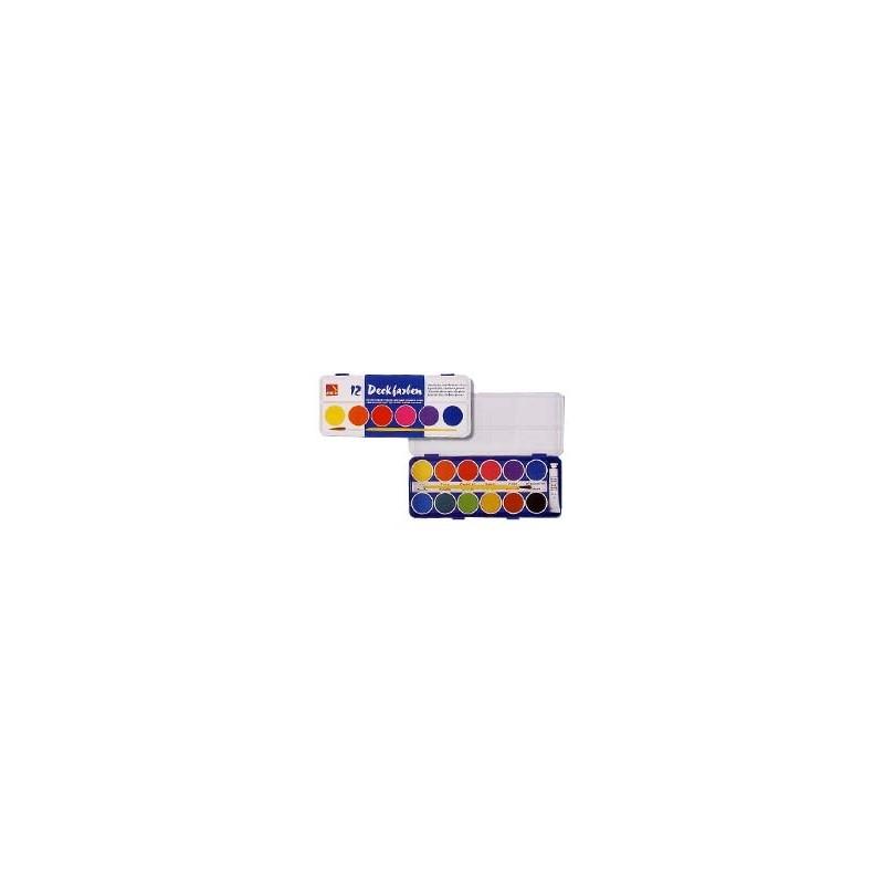 COLORI ACQUARELLO CMP confezione da 12 pastiglie SCATOLA METALLO  -133-