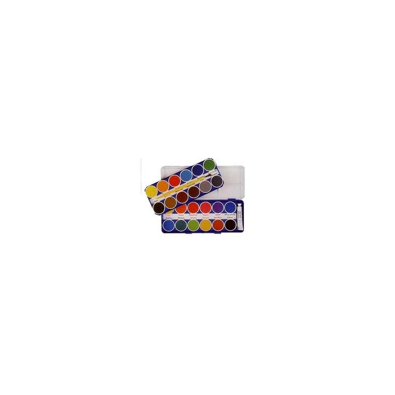 COLORI ACQUARELLO CMP confezione da 24 pastiglie SCATOLA METALLO  -134-