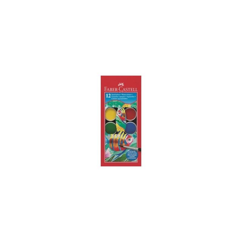 COLORI ACQUARELLO Faber Castell A PASTIGLIA d.30mm  conf.12colori