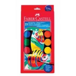 COLORI ACQUARELLO Faber Castell A PASTIGLIA d.30mm  conf.21colori