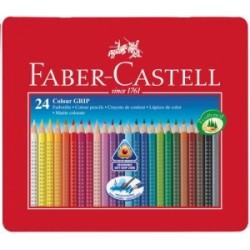 PASTELLI LEGNO Faber C. COLOUR GRIP conf.24pz AstuccioMetallo .112423