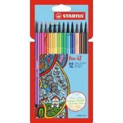 PENNARELLI DISEGNO STABILO PEN68  scatola cartone - 12colori   6812-7
