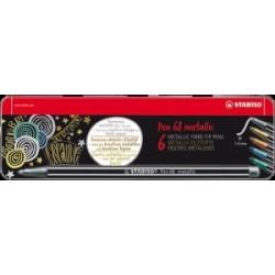 PENNARELLI DISEGNO STABILO PEN68 METALLIC  scatola metallo 6colori      6806/8-32