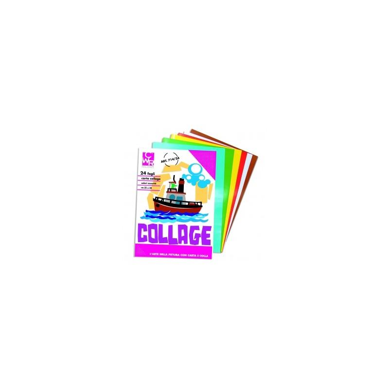 ALBUM COLLAGE VELLUTO 24x34  -710-  10ff  - COLORI ASSORTITI