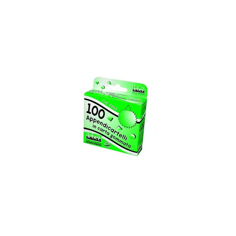 APPENDICARTELLI 0263  100pz. Adesivo in carta gommata