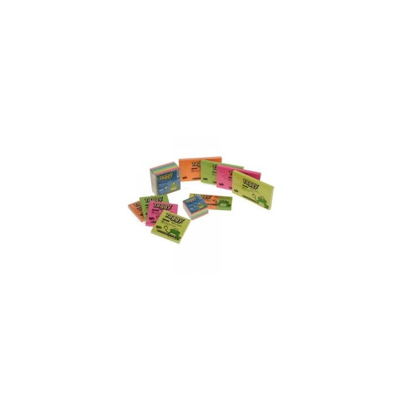 BLOCCO Taggy FOGLIETTI ADESIVI 75x125  -99607-  Colori Assortiti Neon