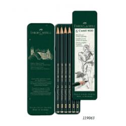 Scatola di metallo con 6 matite di grafite Castell 9000 in sei gradazioni di durezza: HB,B,2B,4B,6B,8B Art.119063 Faber Castell