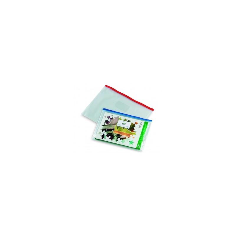 BUSTA SACCO TRASPARENTE IN PLASTICA CON ZIP 33x24 (A4) - COLORI ASSORTITI  (2569)