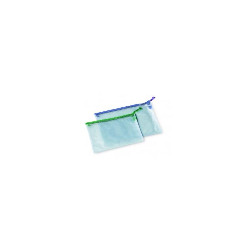 BUSTA TRASPARENTE PLASTICA/RETE CON ZIP 39x27 - COL.ASSORTITI .3013
