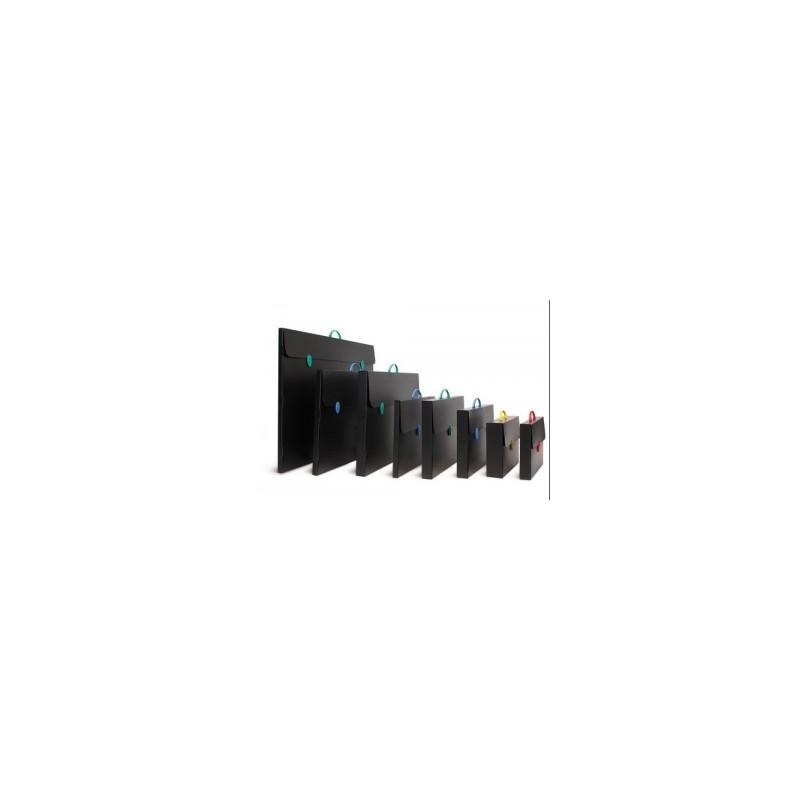 CARTELLA KARNAK polionda 27x38+5  1chiusura - NERA (Accessori tutti Neri)