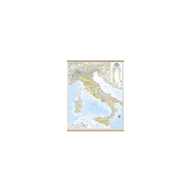 CARTE GEO 050x070 Italia Stradale MURALI PLASTIFICATE